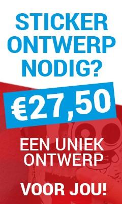 Actie stickers op rol, eigen ontwerp laten maken, Laat uw ontwerp maken voor maar € 27,50